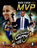 Framed Stephen Curry 2016 Back to Back MVP Portrait Plus