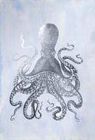 Framed Silver Foil Octopus II on Blue Wash - Metallic Foil