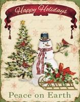 Framed Happy Holidays - Snowman