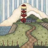 Framed Red Diamond Lighthouse
