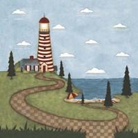 Framed Red And White Lighthouse