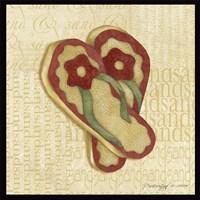 Framed Red Flowering Sandals