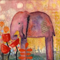 Framed Flower Monger Elephant