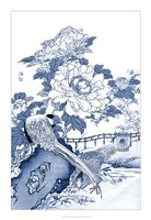 Framed Blue & White Asian Garden II