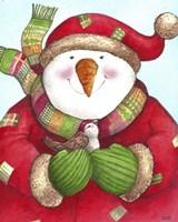 Framed Snowman And Sparrow