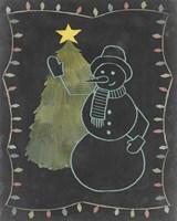 Framed Chalkboard Snowman I