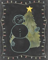 Framed Chalkboard Snowman II