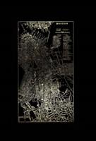 Framed Gold Foil City Map Boston on Black