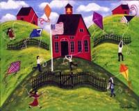 Framed Old Red School House Kite Day