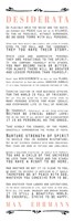 Framed Desiderata Bus Roll Black and Peach Text