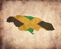Framed Map with Flag Overlay Jamaica