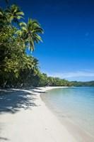 Framed White sand beach and water at the Nanuya Lailai island, the blue lagoon, Fiji