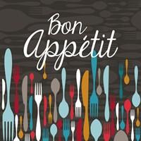 Framed Bon Appetit Cutlery Grey