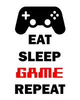 Framed Eat Sleep Game Repeat  - White