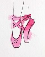 Framed Ballet Shoes En Pointe Pink Watercolor Part III