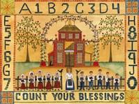 Framed Count Your Blessings School Sampler