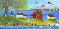 Framed Rubber Dickie Race At Little Red School House Folk Art