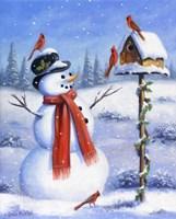 Framed Snowman & Cardinals
