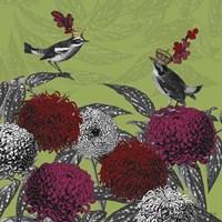 Framed Blooming Birds, Chrysanthemum 1