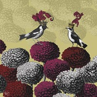 Framed Blooming Birds, Chrysanthemum 2