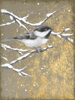 Framed Winter Birds Chicadee Neutral
