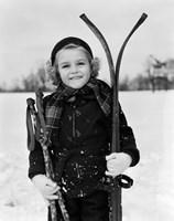 Framed 1930s Little Girl Standing Holding Skis