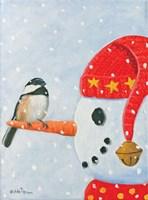 Framed Snowman & Chickadee