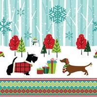 Framed Winter Pet Scene