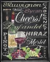 Framed Cheers Wine Art - Black