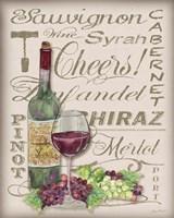 Framed Cheers Wine Art - White