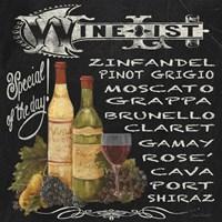Framed Wine List Chalkboard