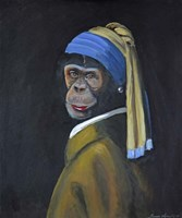 Framed Monkey with Pearl Earring