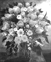 Framed Black and White Bouquet