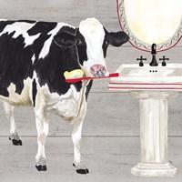 Framed Bath time for Cows Sink