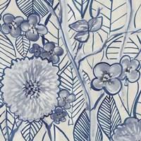 Framed Indigo Leaves And Florals 2
