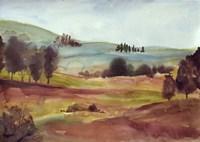 Framed Watercolor Landscape