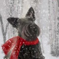 Framed Scotty Dog Red Scarf