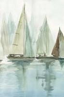 Framed Blue Sailboats II
