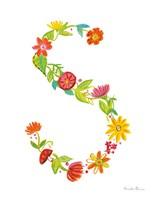 Framed Floral Alphabet Letter XIX