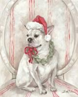 Framed French Bulldog Santa