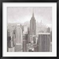 Framed Manhattan in the Mist Gray
