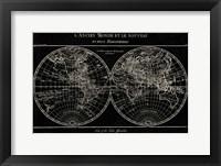Framed Map of the World Black