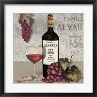 Framed Uncork Wine and Grapes I