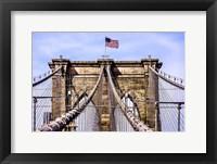 Framed Brooklyn Bridge with Flag