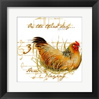 Framed Three French Hens