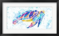 Framed Vibrant Sea Turtle
