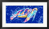 Framed Vibrant Blue Sea Turtle