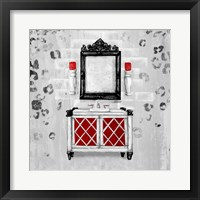 Framed Red Antique Mirrored Bath Square I