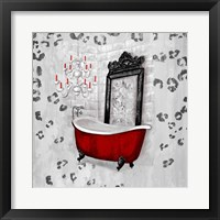 Framed Red Antique Mirrored Bath Square II