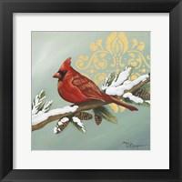 Framed Winter Red Bird II